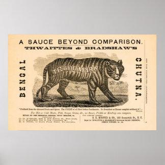 Anuncio picante de la salsa de la antigüedad 1869 impresiones