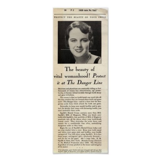 Anuncio poner crema dental 1929 de Squibb Póster