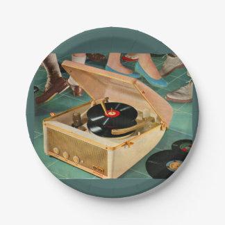 anuncio portátil del tocadiscos de los años 50 platos de papel