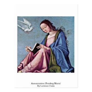 Anuncio (que lee a Maria) por la costa de Lorenzo Tarjetas Postales