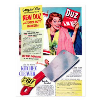 ¡Anuncio retro de Duz del kitsch de las mujeres Postal