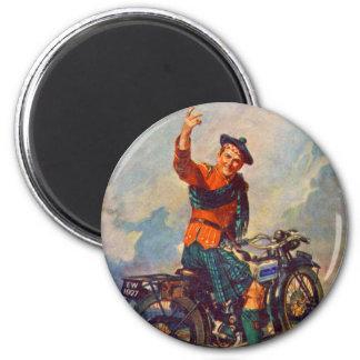 Anuncio retro de la motocicleta de Scot Douglas de Imán Redondo 5 Cm