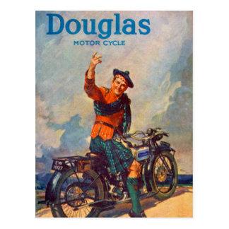 Anuncio retro de la motocicleta de Scot Douglas Postal