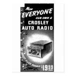 Anuncio retro de la radio de coche de Crosley del  Postales