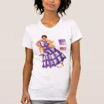 Anuncio retro de la tela escocesa del vestido de camiseta