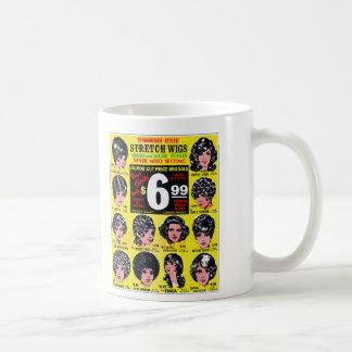 Anuncio retro de las pelucas 6 99 del estiramient taza de café
