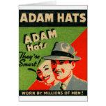 Anuncio retro de los gorras de Adán del arte del M Tarjetón