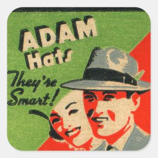 Anuncio retro de los gorras de Adán del arte del Pegatina Cuadrada