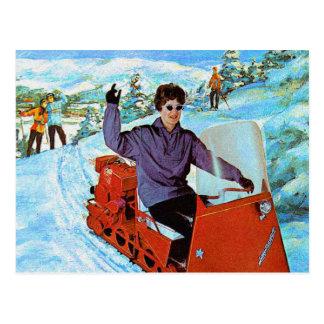 Anuncio retro de Snowmachine del Snowmobile del Postal