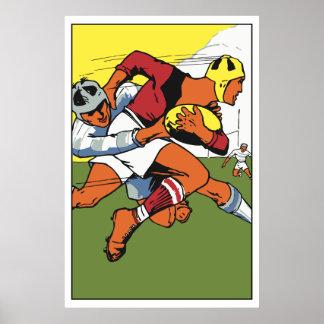 Anuncio retro del campeonato del rugbi póster
