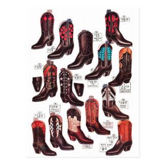 Anuncio retro del catálogo de las botas de vaquero postales