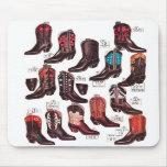 Anuncio retro del catálogo de las botas de vaquero alfombrillas de ratones