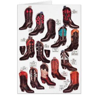 Anuncio retro del catálogo de las botas de vaquero tarjeta de felicitación