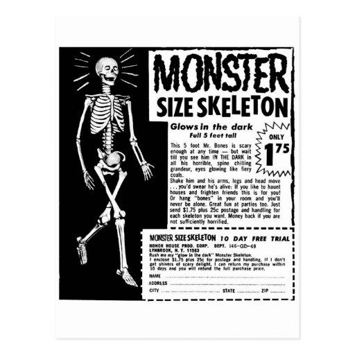 Anuncio retro del esqueleto del tamaño de Moster d Postal