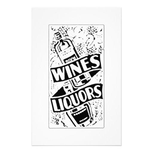 Anuncio retro del estilo de los vinos y de los lic papeleria personalizada