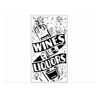 Anuncio retro del estilo de los vinos y de los postal