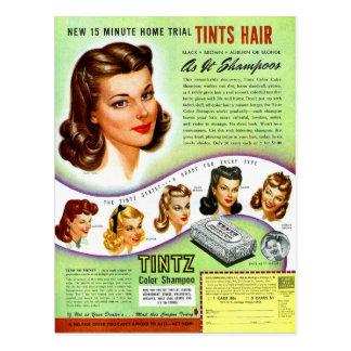 Anuncio retro del kitsch 50s Tintz Haircolor del Postal