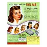 Anuncio retro del kitsch 50s Tintz Haircolor del v Tarjetas Postales