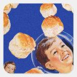 Anuncio retro del muchacho del espacio de la calcomania cuadradas personalizadas