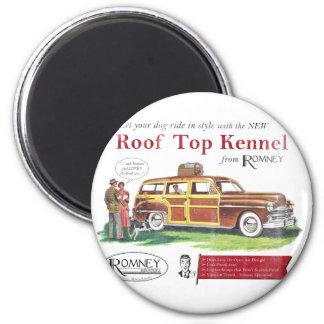 Anuncio retro del perro de Mitt Romney del vintage Imán Redondo 5 Cm