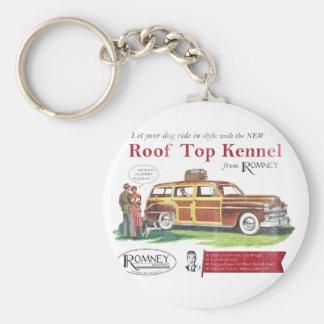 Anuncio retro del perro de Mitt Romney del vintage Llavero Redondo Tipo Pin