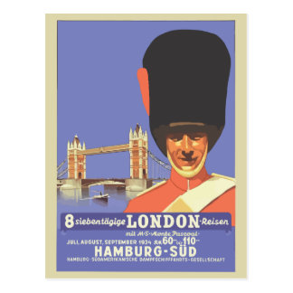 Anuncio retro del viaje de Londres del estilo Tarjeta Postal