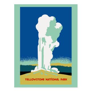 Anuncio retro del viaje del parque de Yellowstone Postal