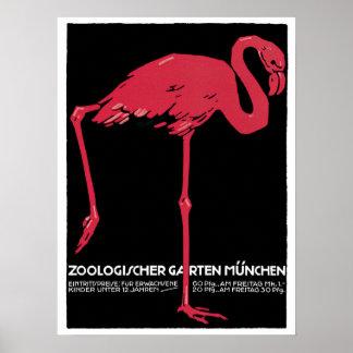 Anuncio rojo del viaje del parque zoológico de póster