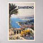 Anuncio Sanremo Italia del viaje de Litho del vint Poster