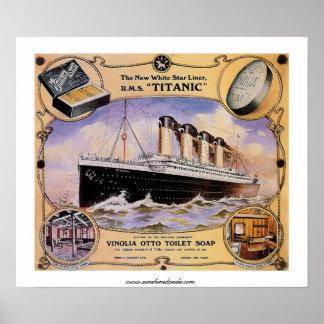 Anuncio titánico del jabón del vintage del RMS Póster