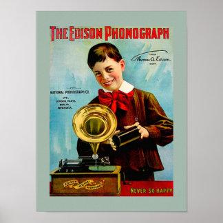 Anuncio viejo del tocadiscos del cilindro del fonó posters