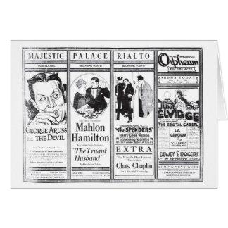 Anuncios 1921 de la película muda de Mahlon Hamilt Tarjeta De Felicitación