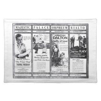 Anuncios negros y blancos 1920 de la película muda manteles individuales