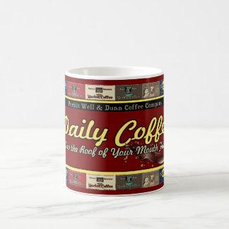 Anuncios retros del vintage diario del café taza básica blanca