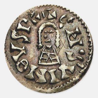 Anverso de la moneda de oro de Visigoth Pegatina Redonda