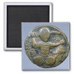 Anverso de la moneda que representa al turco con c imán cuadrado