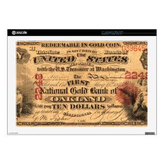 Anverso de un billete de banco CA 1870 del oro del Skins Para 43,2cm Portátil