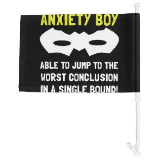 Anxiety Boy Car Flag