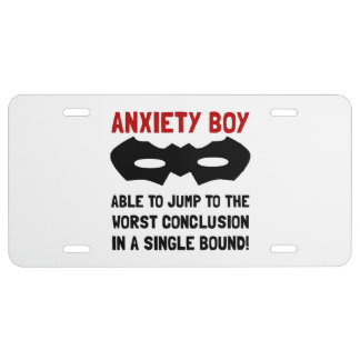 Anxiety Boy License Plate