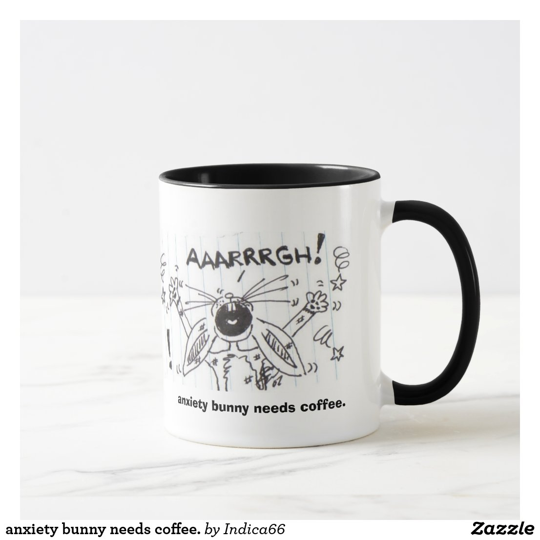 anxiety bunny needs coffee. mug