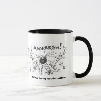 anxiety bunny needs coffee. mug