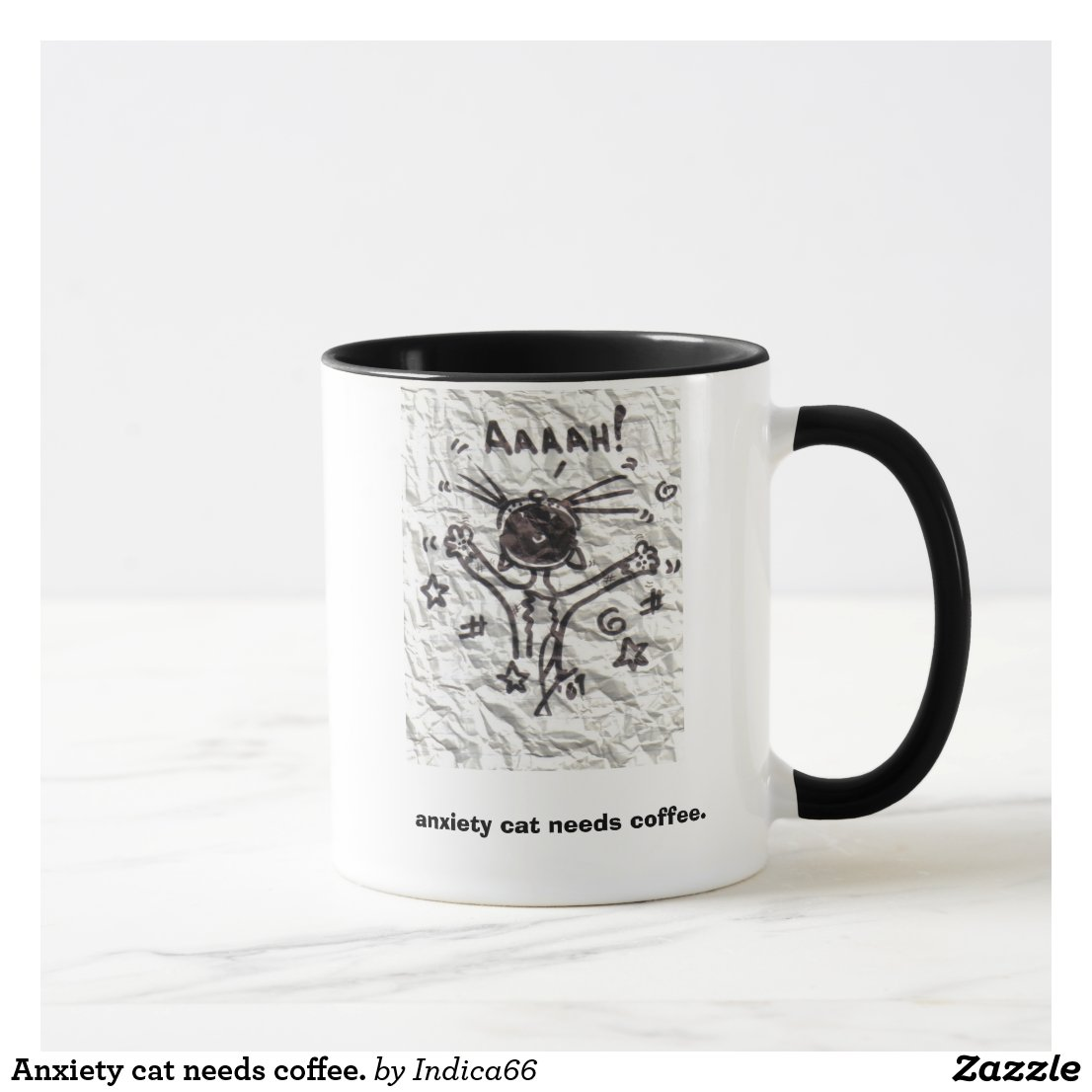 Anxiety cat needs coffee. mug