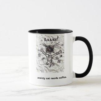 Anxiety cat needs coffee. mug