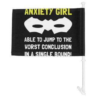 Anxiety Girl Car Flag