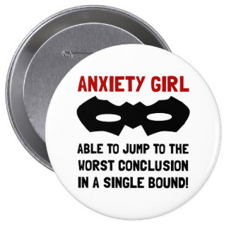 Anxiety Girl Pinback Button