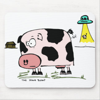 Anxious Cow Alien Abduction Mouse Pad