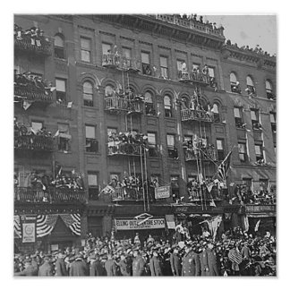 Anxious crowds gathered in the streets photo print