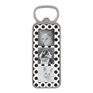 Any 3 Photos Custom BW Polka Dots Pattern Magnetic Bottle Opener