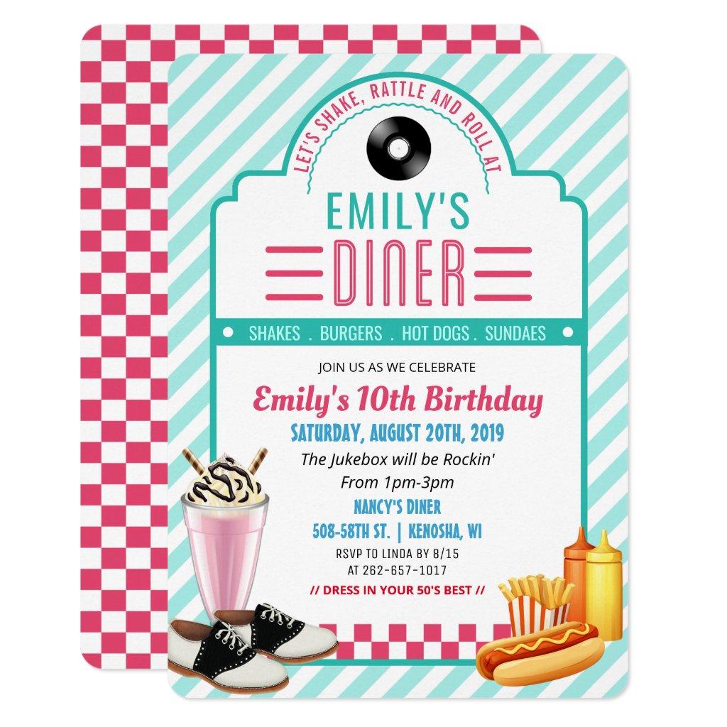 1950 S Party Invitations Retro Invites