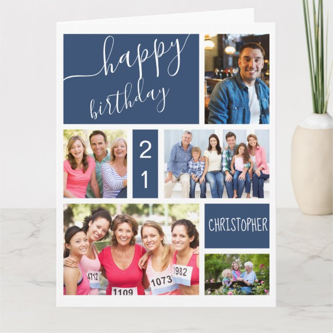 Any Age 5 Photo Collage Blue Personalized Birthday Card